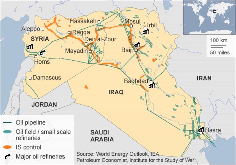 naftna infrastruktura u Iraku i Siriji i prisustvo ISILa