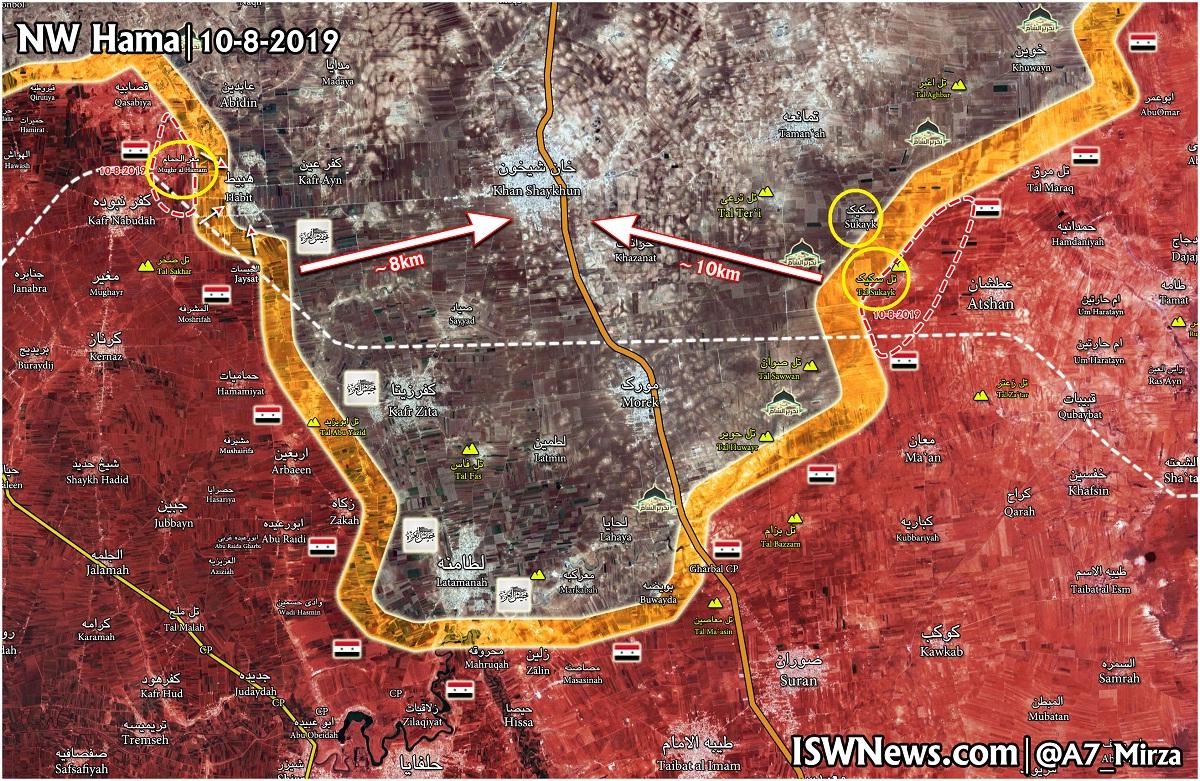 Situacija na bojištu sjeverne Hame 10. kolovoza
