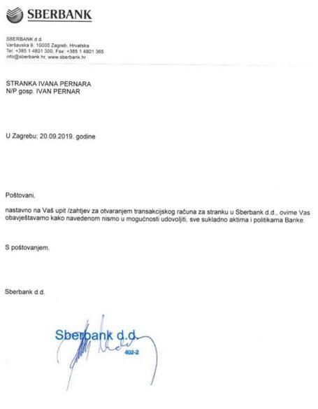 Odbijenica Sberbanke