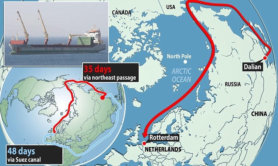 Sjeverni pomorski put, ruta od Rotterdama do Dalyana u Kini